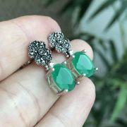 Brinco de Prata 925 Flor e Pedra Ágata Verde