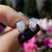 Brinco de Prata 925 Gota Pedra da Lua