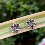 Brinco de Prata 925 Orquídea Envelhecida