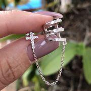 Brinco de Prata 925 Piercing com Corrente Cruz Cravejado