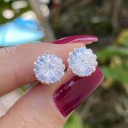 Brinco de Prata 925 Ponto de Luz Cristal Garras Ondas G 1cm