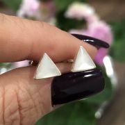 Brinco de Prata 925 triângulo madrepérola