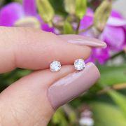 Brinco de Prata Ponto de Luz Cristal Tarraxa Baby P 3mm