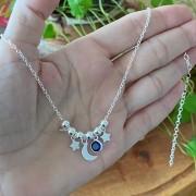 Colar de Prata 925 Choker Bolinha, Estrela e Lua - Colorida