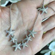 Colar De Prata 925 Estrela Do Mar Cravejado Com Zircônias