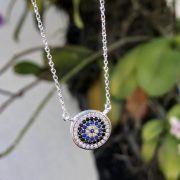 Colar de Prata 925 Mandala Olho Grego com Microzircônias