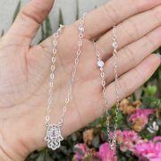 Colar de Prata 925 Mão de Fátima Ponto de Luz Cristal
