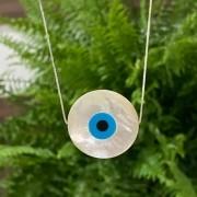 Colar de Prata 925 Olho Grego Madrepérola Grande 3cm