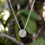 Colar de Prata 925 Ponto de Luz Zircônia Luxo c/ corrente 40