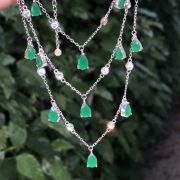 Colar de Prata 925 Trio com Aplicação de Zircônia Esmeralda