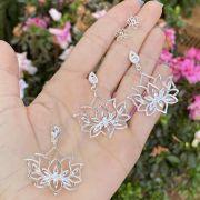 Conjunto de Prata 925 Brinco e Pingente Flor de Lótus