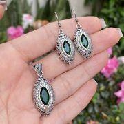 Conjunto de Prata 925 Brinco e Pingente Gota Zircônia Esmeralda