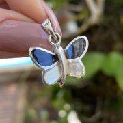 Pingente de Prata 925 Borboleta Madrepérola e Onix