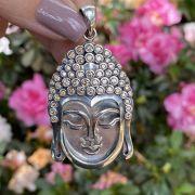 Pingente de Prata 925 Cabeça Buda Cravejado Zircônia