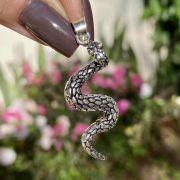 Pingente de Prata 925 Cobra Escamas Envelhecido