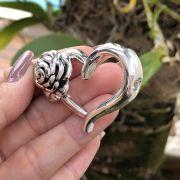 Pingente de Prata 925 Coração e Flor Eletroformação