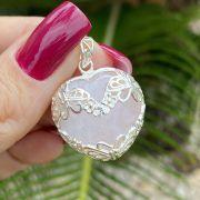 Pingente de Prata 925 Coração Quartzo Rosa Detalhes na Prata