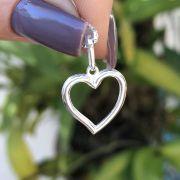 Pingente de Prata 925 Coração Vazado
