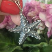Pingente de Prata 925 Estrela do Mar Trabalhado 3cm