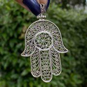 Pingente de Prata 925 Mão de Fátima Vazado trabalhado 6,5cm