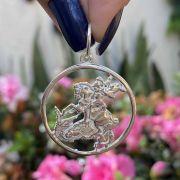 Pingente de Prata 925 Medalha de São Jorge Vazada 3cm