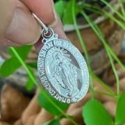 Pingente de Prata 925 Medalha Nossa Senhora 3,5cm