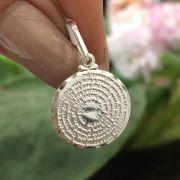 Pingente de Prata 925 Medalha Pai Nosso 1,5cm