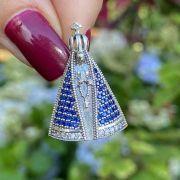 Pingente de Prata 925 Nossa Senhora Crav. Safira e Cristal G