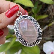 Pingente de Prata 925 Oval Pedra Quartzo Rosa
