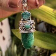 Pingente de Prata 925 Pedra Natural Esmeraldita