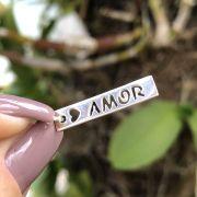 Pingente de Prata 925 Plaquinha Amor com Coração 2,6cm