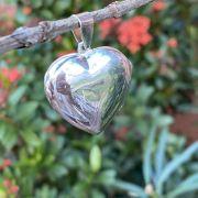 Pingente de Prata 925 Relicário Coração Liso