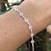 Pulseira de Prata 925 6 Corações Cristal 18,5cm