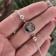 Pulseira de Prata 925 Bolinhas Detalhes Coração Abalone 20cm