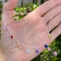 Colar de Prata 925 Choker Pedras Coloridas