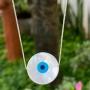 Colar de Prata 925 Olho Grego Madrepérola Médio 2cm