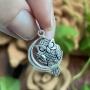 Pingente de Prata 925 Coruja e Lua Envelhecida 1,5cm