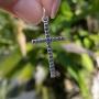 Pingente de Prata 925 Cruz Detalhes Envelhecidos 3,3cm
