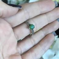 Anel de Prata 925 agata gota verde com marcassita