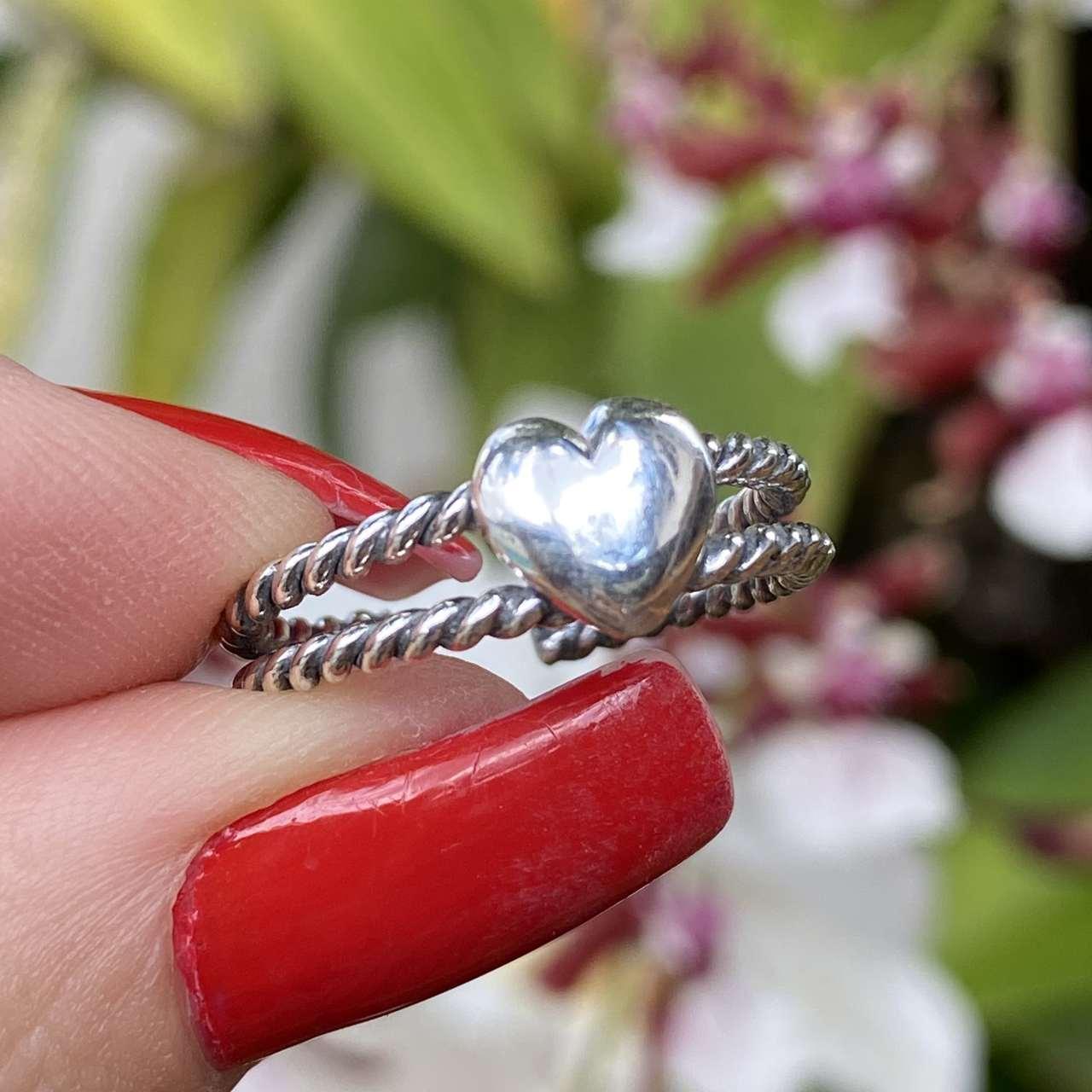 Anel de Prata 925 Ajustável Envelhecido Coração Cordão