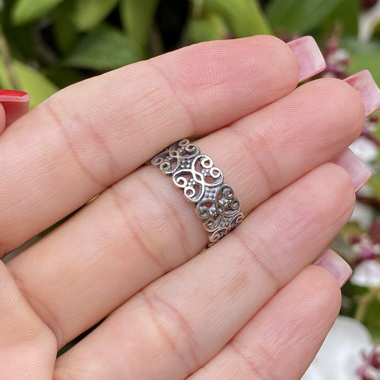 Anel de Prata 925 Aliança Grossa Corações Envelhecidos