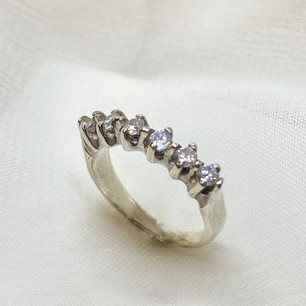 Anel de Prata 925 Aparador de Aliança 6 pedras