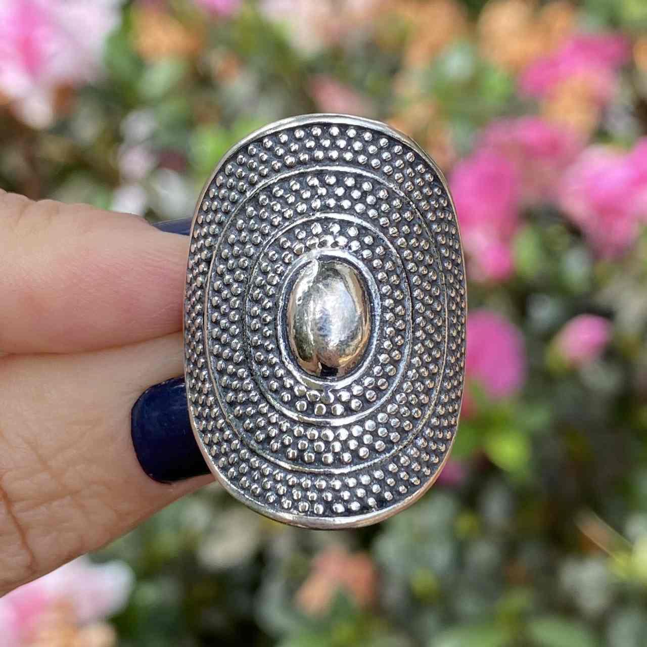 Anel de Prata 925 Boho Oval Trabalhado Bolinhas