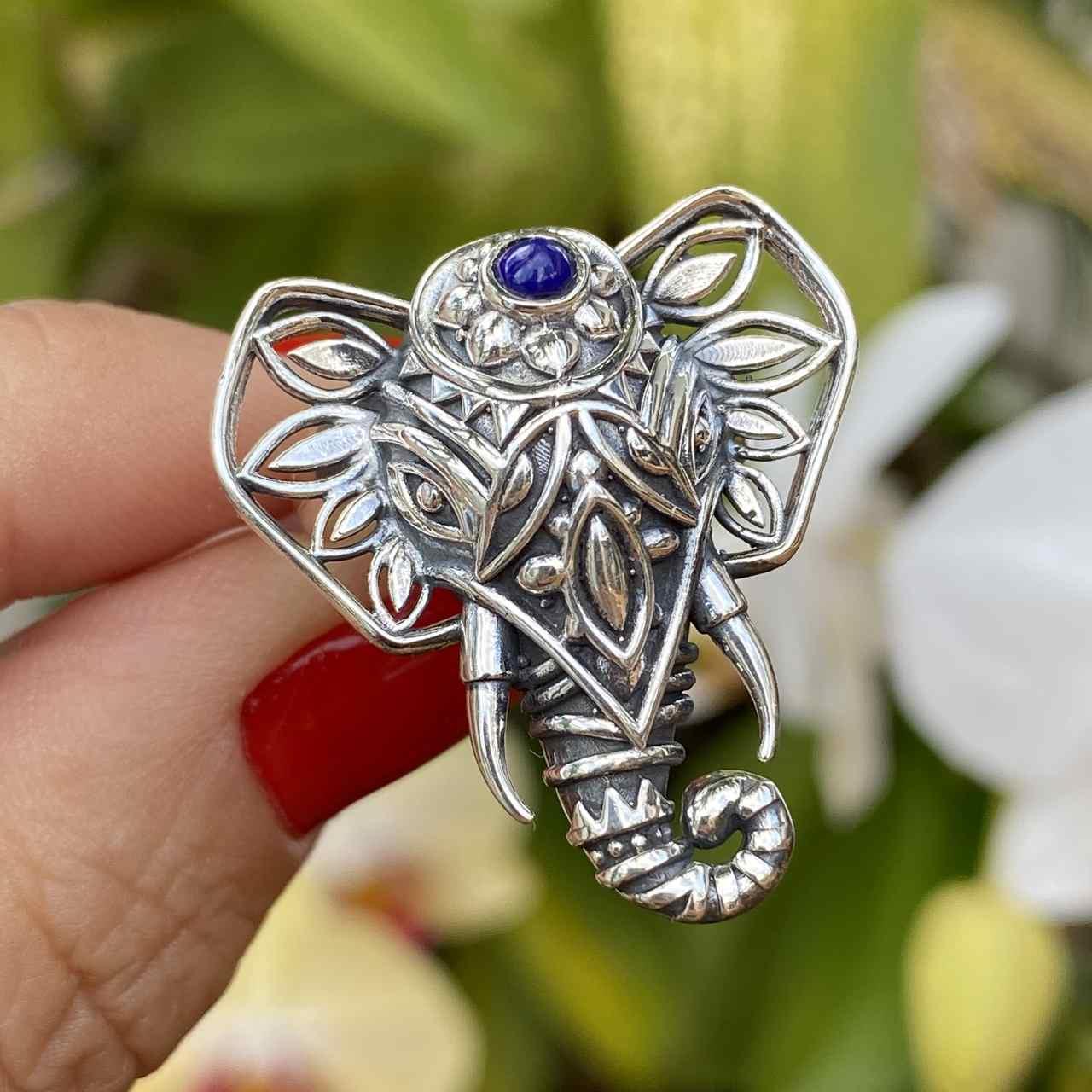 Anel de Prata 925 Cabeça de Elefante Lápis Lazuli Trabalhado