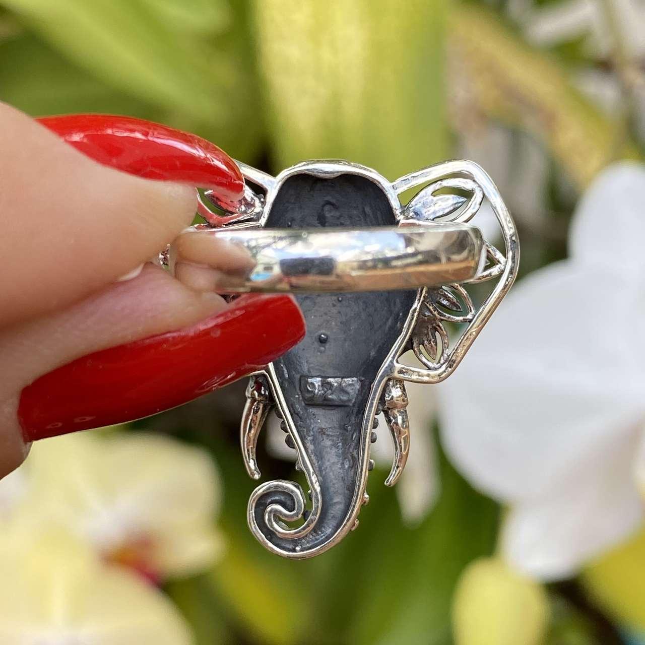 Anel de Prata 925 Cabeça de Elefante Safira Trabalhado