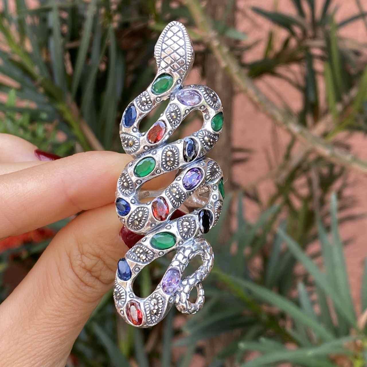 Anel de Prata 925 Cobra Multicolorida