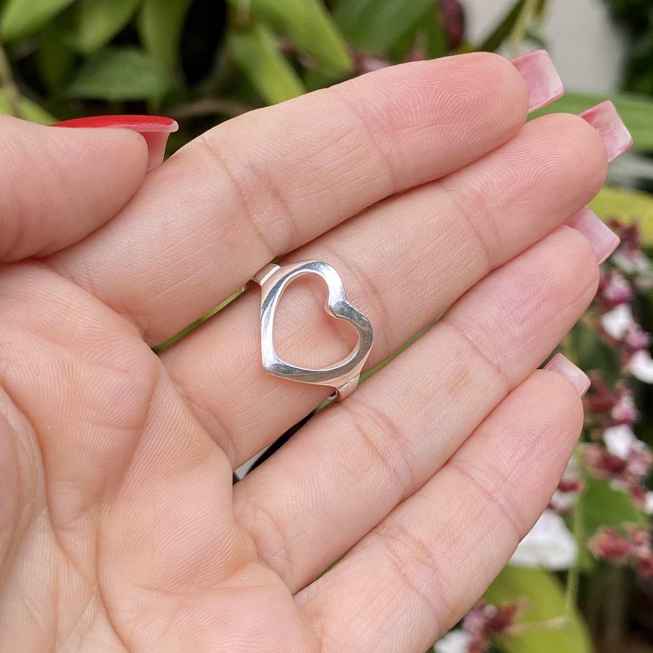 Anel de Prata 925 Coração Vazado