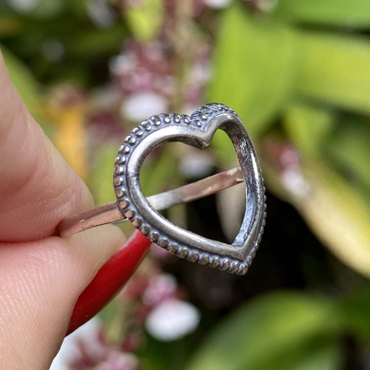 Anel de Prata 925 Coração Vazado Envelhecido
