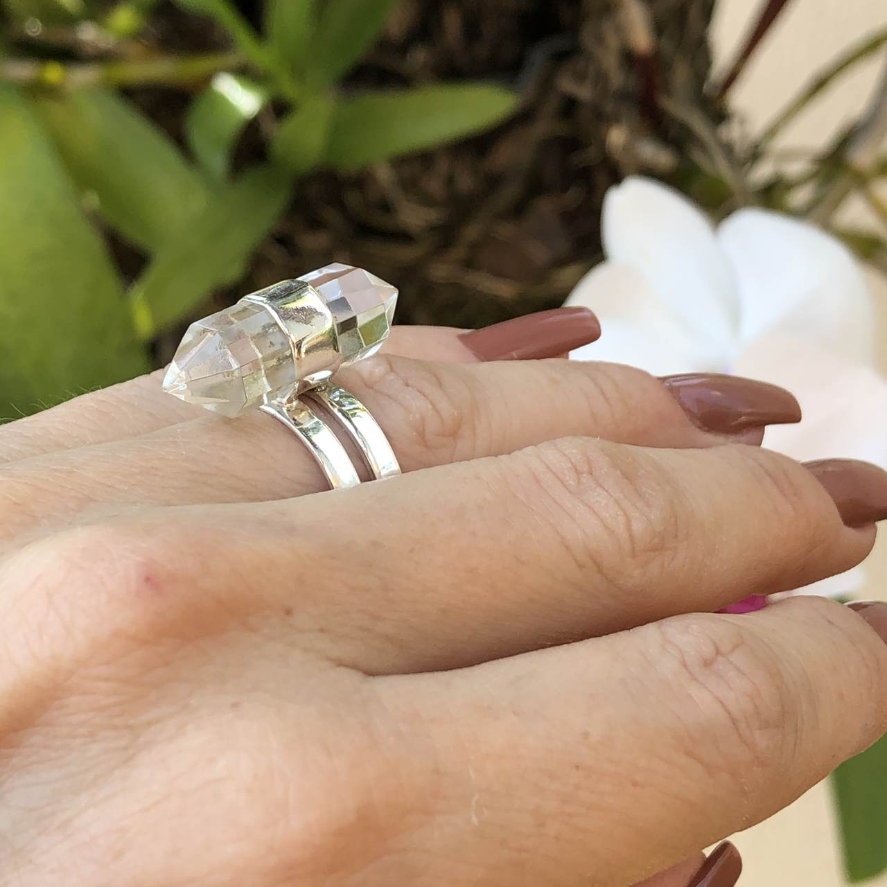 Anel de Prata 925 Cristal de Rocha
