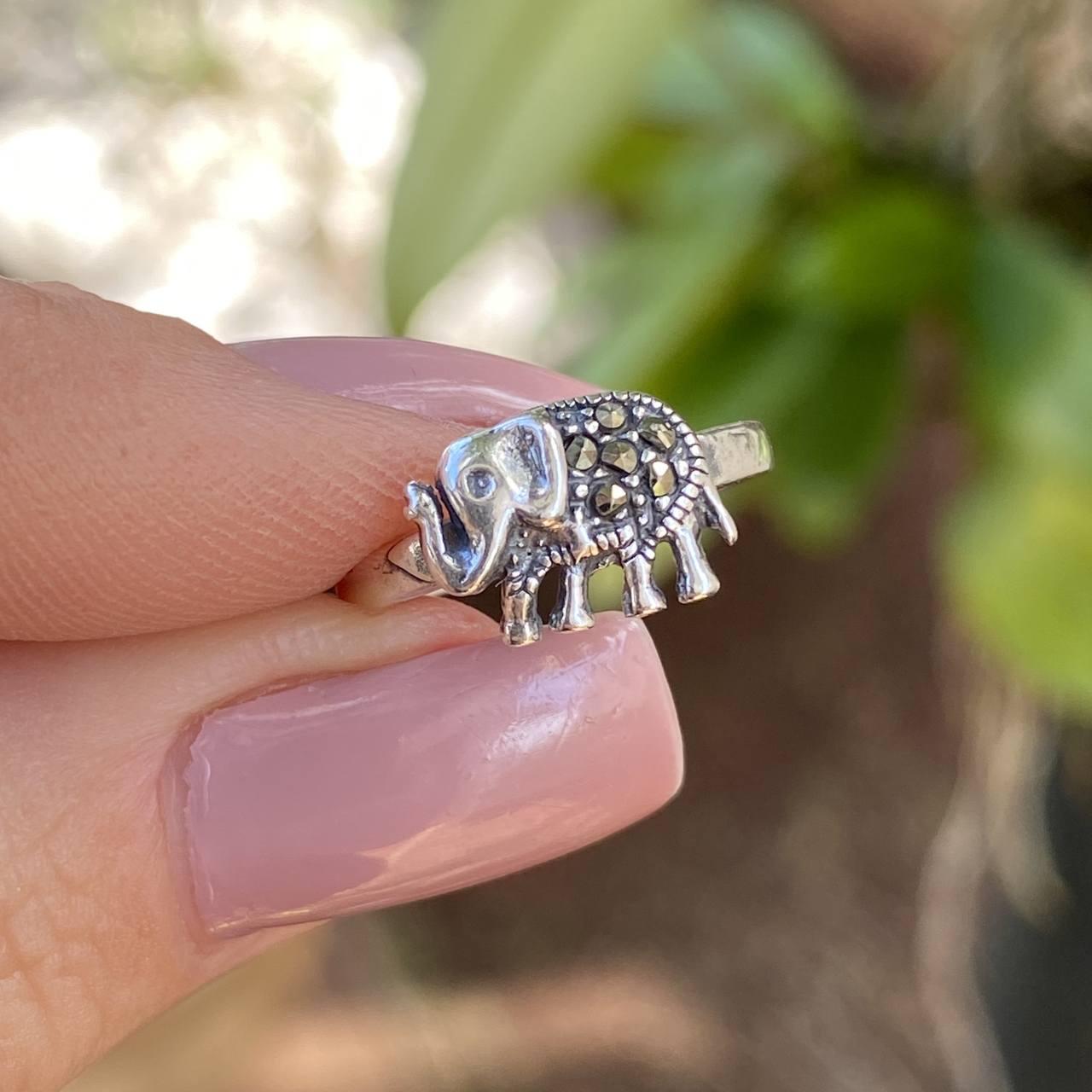 Anel de Prata 925 Falange Ajustável Elefante com Marcassita